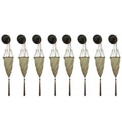 Group of Eight Fortuny Cesenda Silk Wall Sconces
