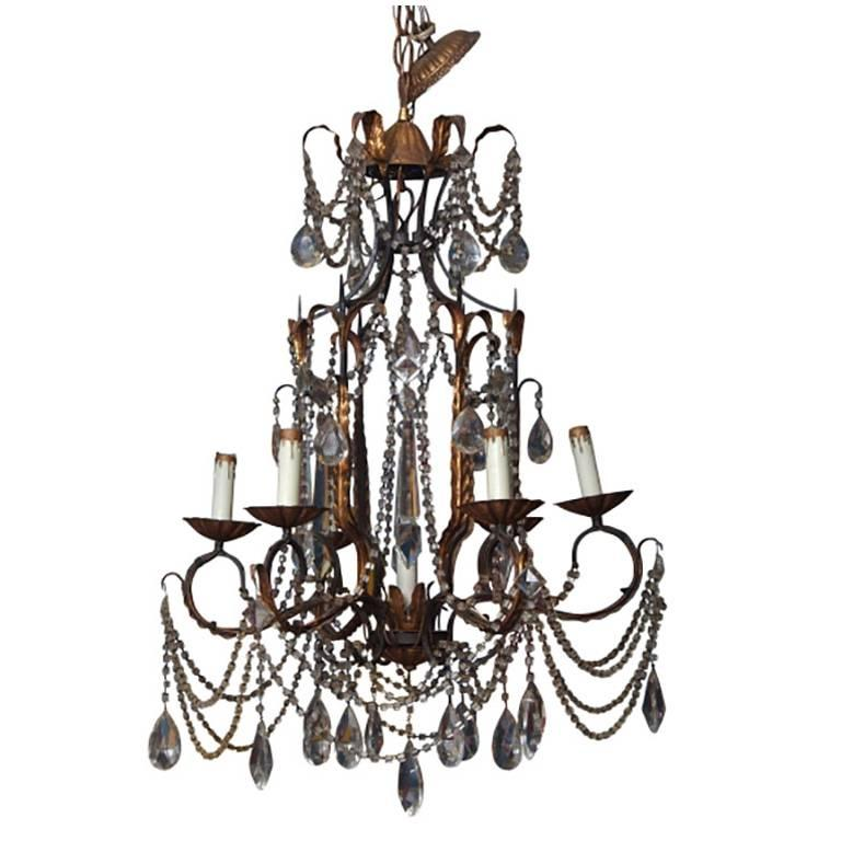 Mid-Century Six-Arm Foliate Crystal and Beaded Chandelier For Sale