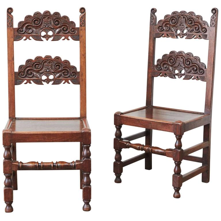 Pair Of Spanish Colonial Style Carved Side Chairs For Sale At 1stdibs