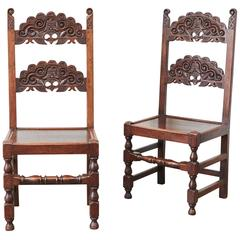 Delicieux Pair Of Spanish Colonial Style Carved Side Chairs For Sale At 1stdibs