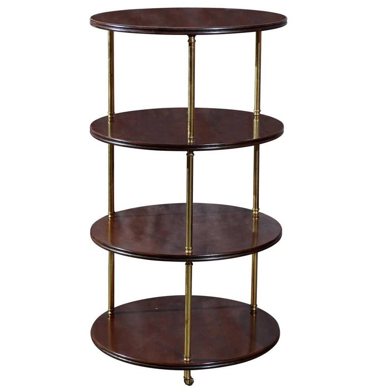 Vintage Round Mahogany and Brass Four Tier English Trolley on Casters
