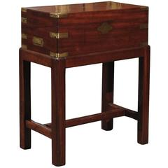 English Mahogany Writing Box or Lap Desk on Stand with Brass Handles and Storage