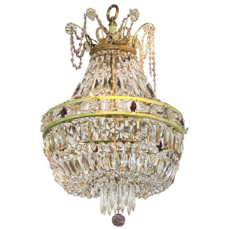 French Basket Shaped Crystal Chandelier with Accents of Amethyst Color Crystals For Sale
