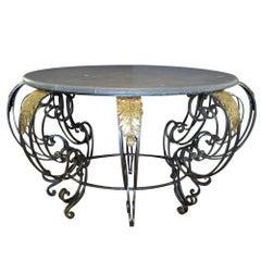 Kurviger Französischer Rococo Schmiedeeiserner Tisch