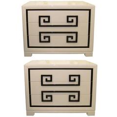 Kittinger Almond Lacquered Greek Key Chests