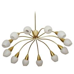 Large Italian 12-Arm Stilnovo Midcentury Sputnik Chandelier Flush Mount 1950s