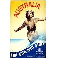 "Original Vintage 1930s Travel Advertising Poster ""Australia for Sun and Surf"""