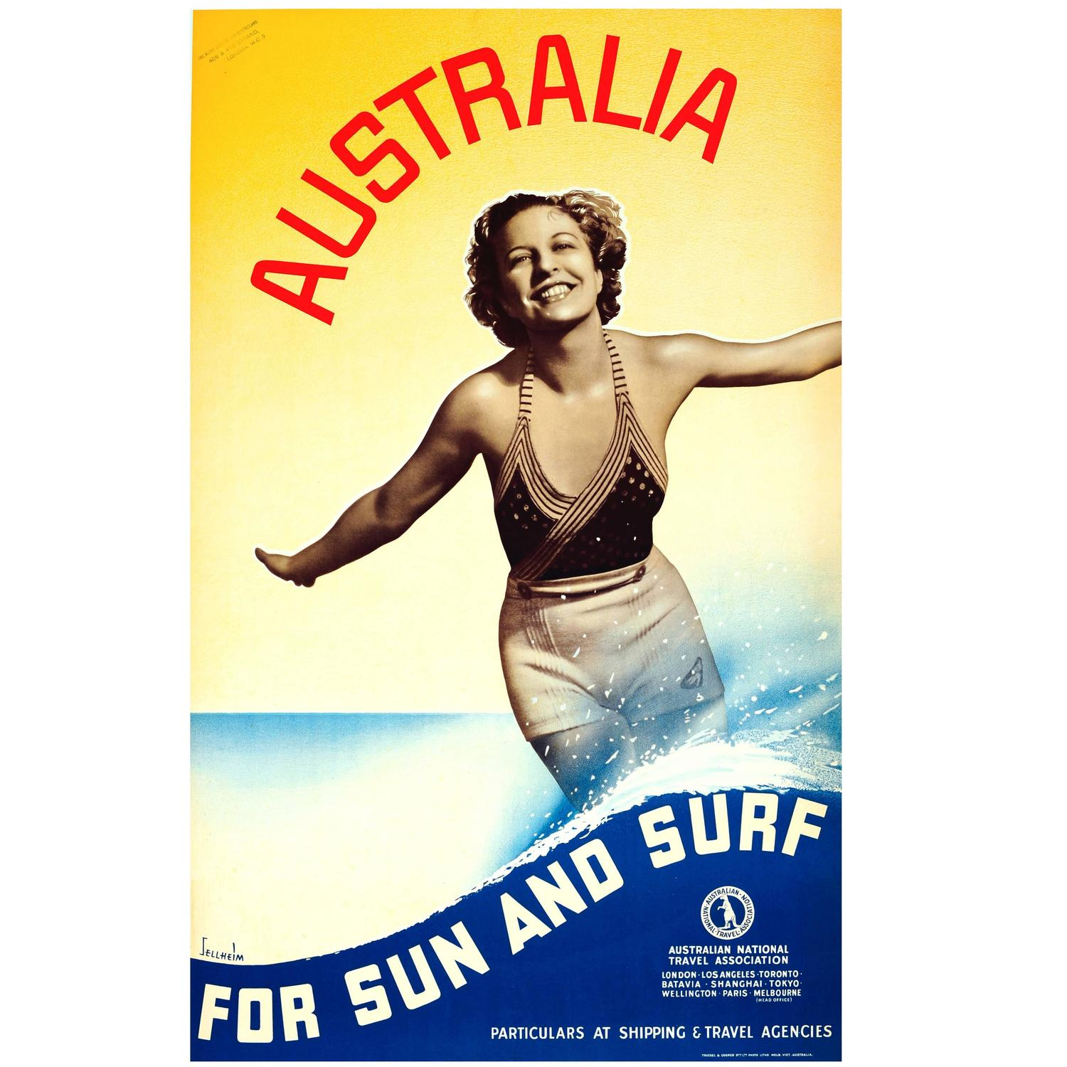 "Original Vintage 1930s Travel Advertising Poster ""Australia for Sun and Surf """