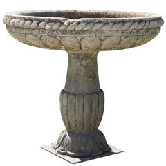 19th Century Antique Italian Bird Bath Basin in Limestone