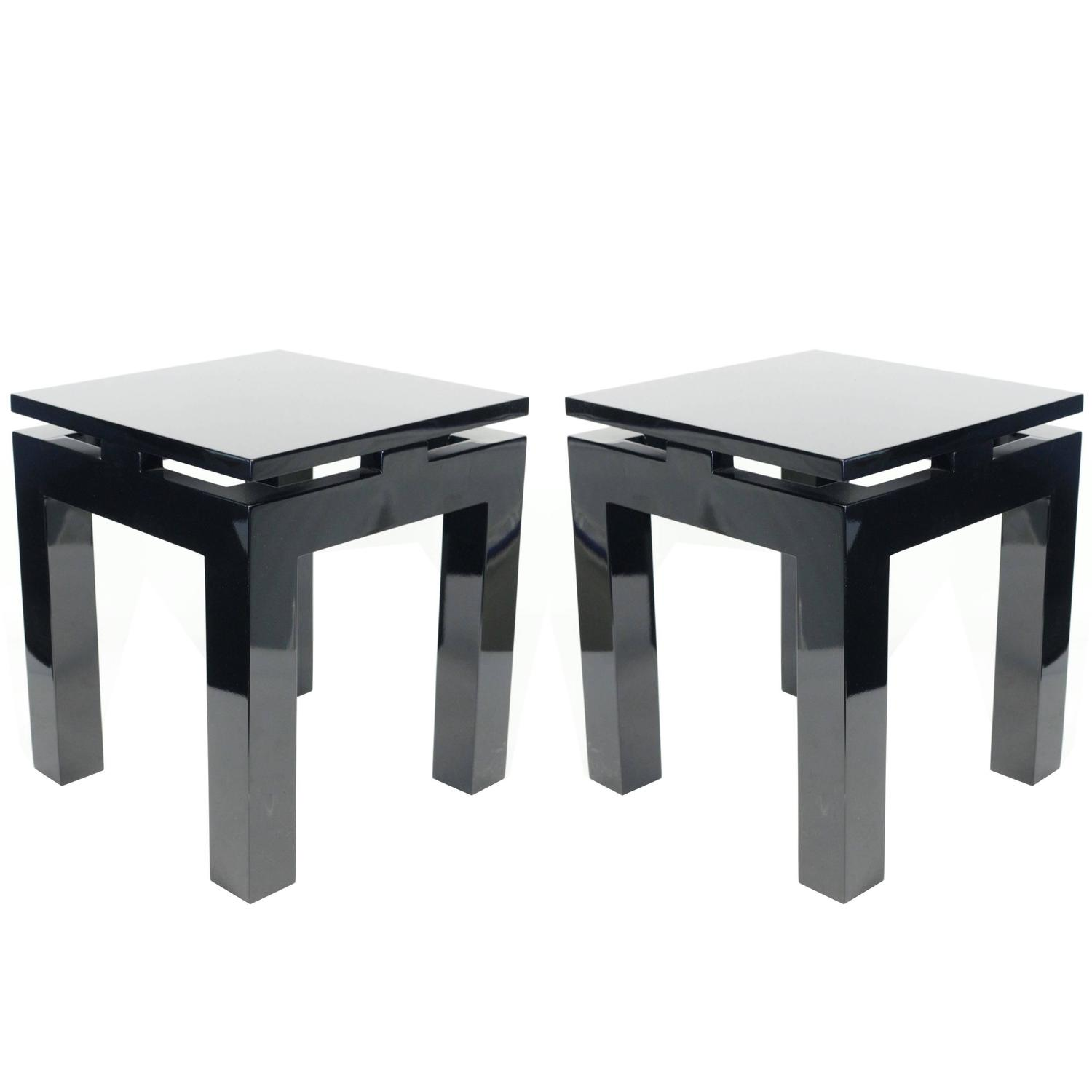 Nice pair of 1980s oriental style end tables black for Nice table styles