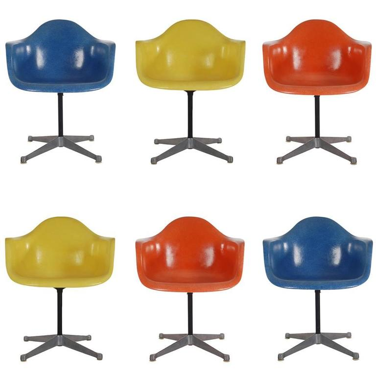Mid-Century Eames for Herman Miller Fiberglass Dining Chairs in Assorted Colors