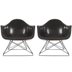 Mid-Century Modern Eames for Herman Miller Fiberglass Lounge Chairs in Jet Black