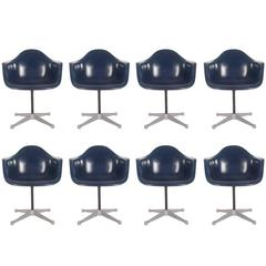 Mid-Century Charles Eames for Herman Miller Fiberglass Dining Chairs in Navy