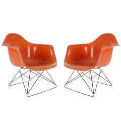 Orange Mid-Century Modern Charles Eames Herman Miller Fiberglass Lounge Chairs