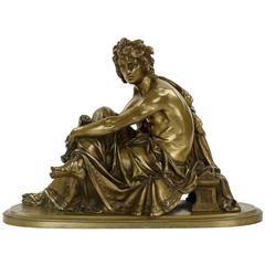 Albert-Ernest Carrier-Belleuse Bronze Sculpture of Seated Virgil, 19th Century