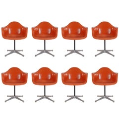 Mid-Century Charles Eames for Herman Miller Fiberglass Dining Chairs in Orange