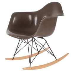 Mid-Century Eames for Herman Miller Fiberglass Rocking Lounge Chair in Chocolate