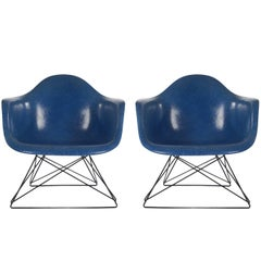 Mid-Century Modern Eames for Herman Miller Fiberglass Lounge Chairs Royal Blue