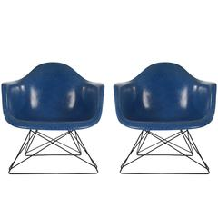 Mid-Century Modern Eames for Herman Miller Fiberglass Lounge Chairs Royal Blue