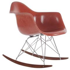 Mid-Century Eames Herman Miller Fiberglass Rocking Lounge Chair in Terracotta