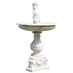 Marble Fountain with a Cherub, 20th Century