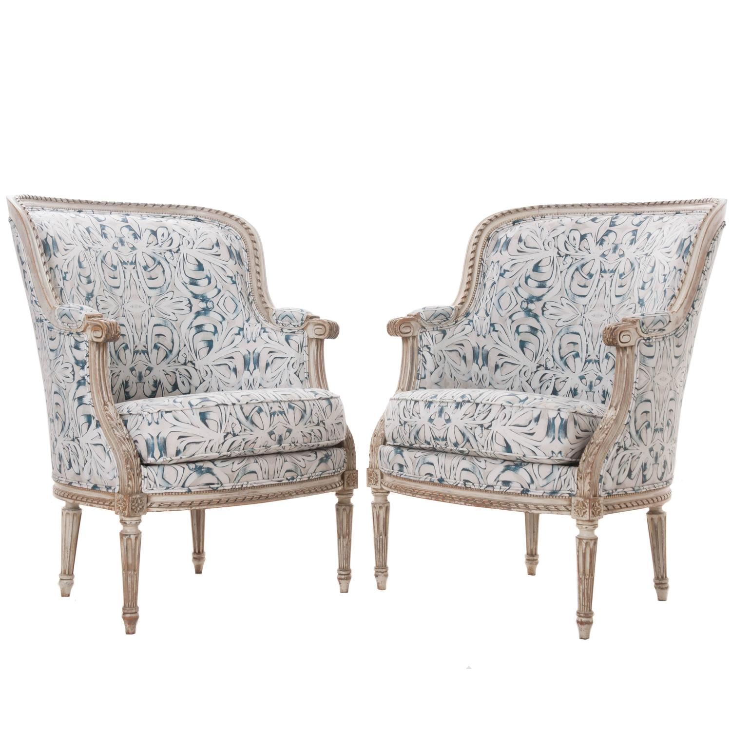 Missoni Fabric Covered Bergere Chair: Pair Of French 19th Century Louis XVI Bergères Covered In
