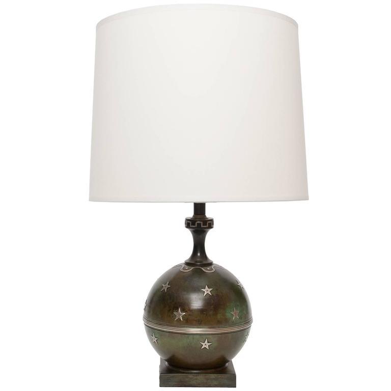 Scandinavian Modern Ystad Metall Bronze Lamp with Silver Stars