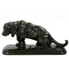 Antoine-Louis Barye Bronze Sculpture of Basset Hound, Barbedienne, circa 1877