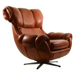 Overstuffed Vinyl Swivel Tilt Lounge Chair
