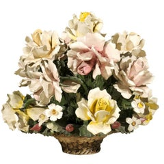 French 1870s Hand-Crafted and Painted Majolica Barbotine Bouquet of Flowers