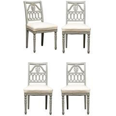 Set of Four Swedish Neoclassical Style Painted Lindome Side Chairs, circa 1920