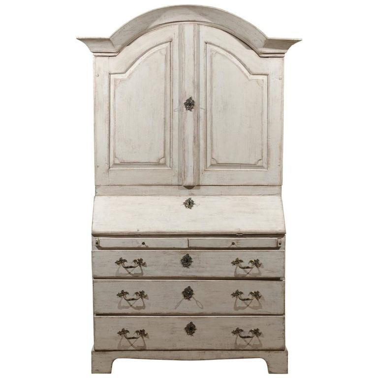 Baroque Style 1840s Swedish Tall Secretary with Slant-Front Desk and Drawers