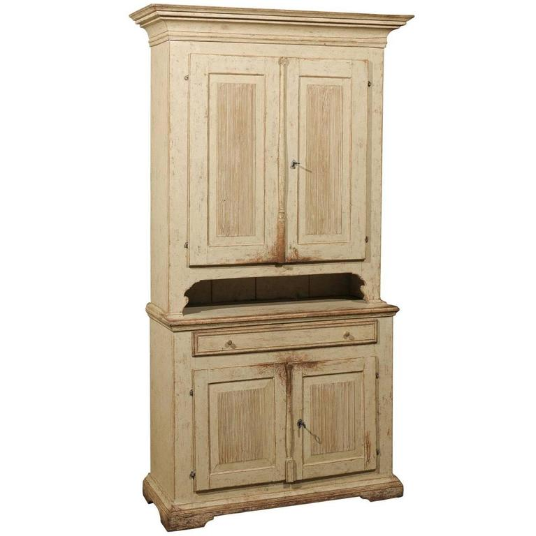 Swedish Early 19th Century Gustavian Painted Tall Cabinet with Reeded Doors