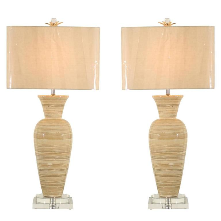 Chic Pair of Large-Scale Bamboo Vases as Custom Lamps