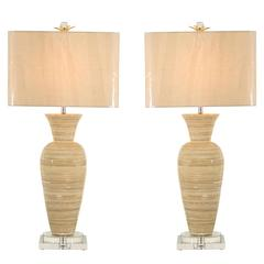 Schickes Paar Große Bambus Vasen als Benutzerdefinierte Lampen