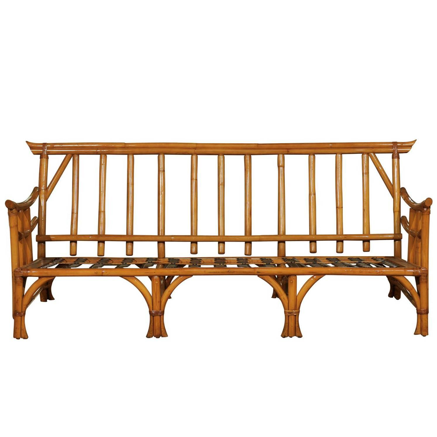 Used Cane Sofa For Sale In Bangalore: Magnificent Restored Vintage Rattan Pagoda Sofa For Sale
