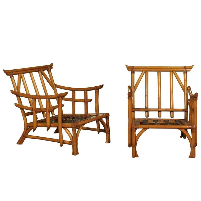 Magnificent Pair of Restored Vintage Rattan Pagoda Lounge Chairs