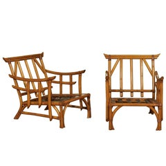 Magnificent Pair of Restored Vintage Rattan Pagoda Lounge Chairs, circa 1960