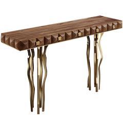 Il Pezzo Ten Wood and Brass Console