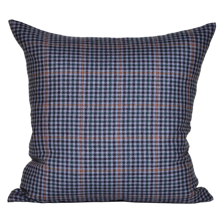 Vintage Navy Blue Orange Donegal Tweed Irish Wool and Irish Linen Cushion Pillow For Sale