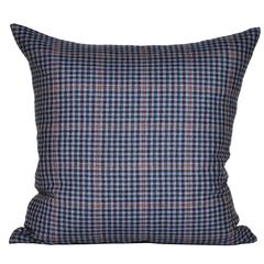 Vintage Navy Blue Orange Donegal Tweed Irish Wool and Irish Linen Cushion Pillow