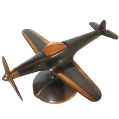 Rare Copper P-51 Mustang II Airplane Table Lighter by Negbaur