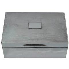 English Art Deco Sterling Silver Desk Box