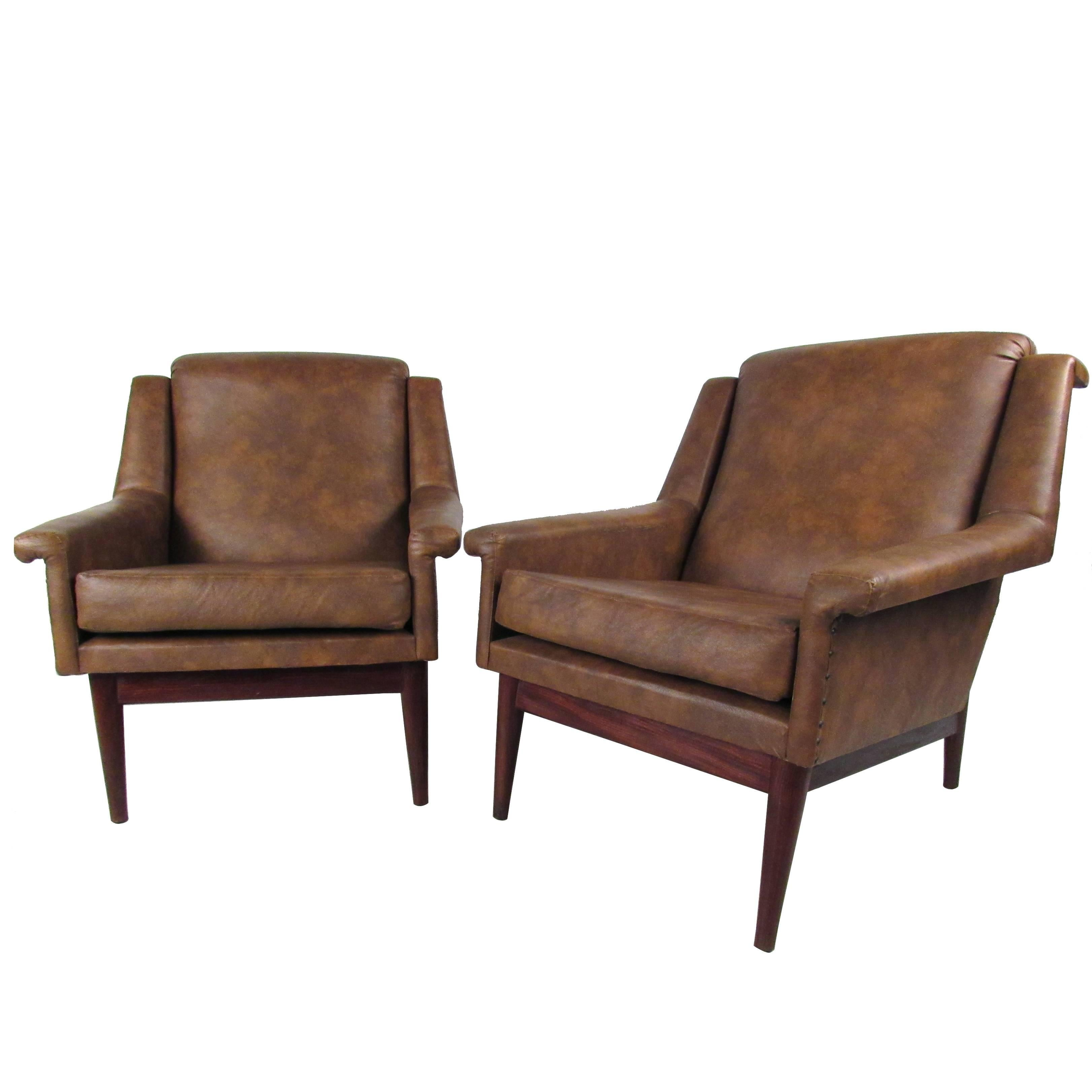 Pair Danish Modern Lounge Chairs