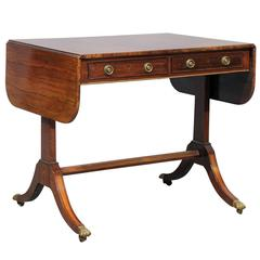 19th Century Regency Style Rosewood Drop Leaf Sofa Table with Gilt Accent