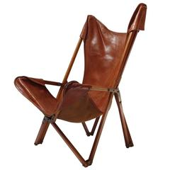 Foldable Leather Armchair in the Style of Joseph Beverly Fenby
