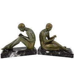 French Art Deco Bronze Bookends Man Writing Lady Reading Pierre Le Faguays, 1930