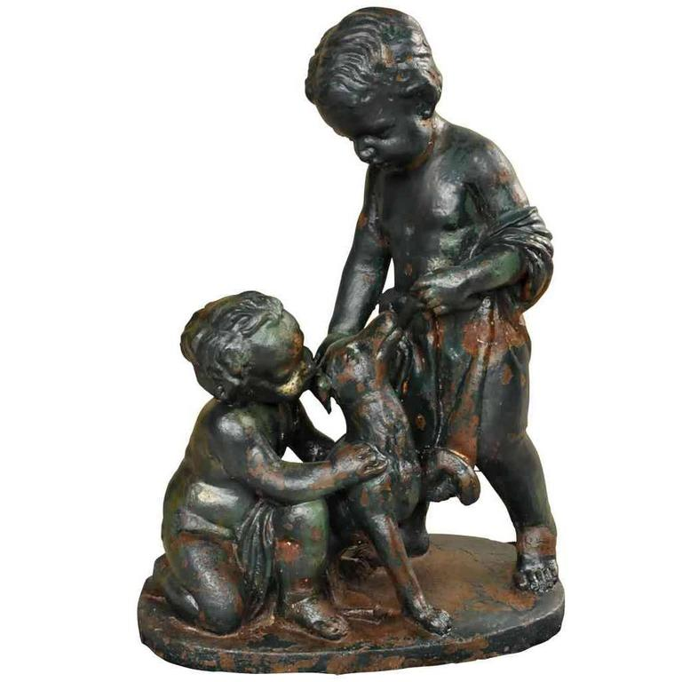 French 19th Century Figural Statue in Cast Iron