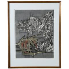 Vintage Lithograph, 'Destroyed City II' 149/210 by Ru Van Rossem