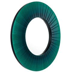Round Green Beveled Mirror Glass